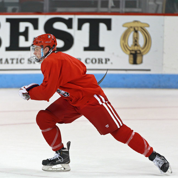 An image of a hockey player skating.