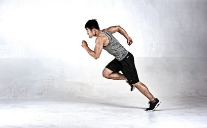An Athlete performing interval training for hockey players