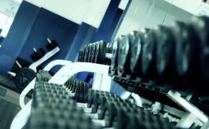 Weights used for an ice hockey weight training program.